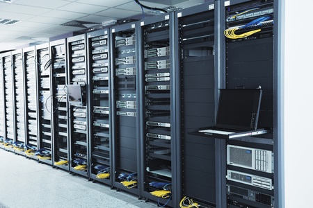 tv network: network server room with computers for digital tv ip communications and internet Stock Photo