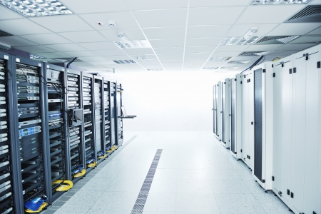 network server room with computers for digital tv ip communications and internet Stock Photo - 11021939