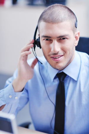 businessman with a headset portrait at bright call center helpdesk support office Stock Photo - 11022107