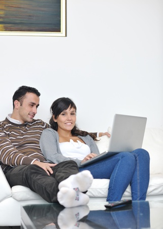 joyful couple relax and work on laptop computer at modern living room indoor home Stock Photo - 11132967