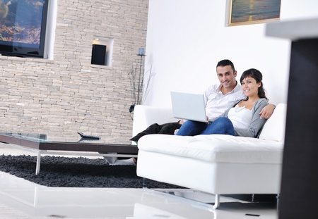 room card: joyful couple relax and work on laptop computer at modern living room indoor home Stock Photo