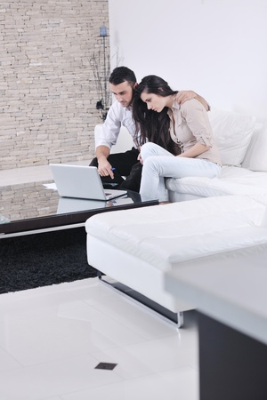 joyful couple relax and work on laptop computer at modern living room indoor home Stock Photo - 11317021