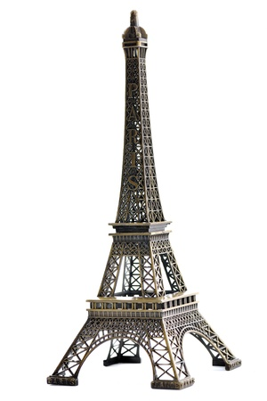 eiffel: paris eiffel tower model isolated on white background in studio