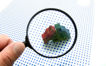 lupe: magnifying glass Stock Photo