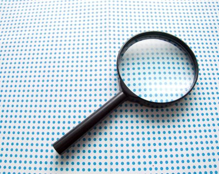 seeking solution: magnifying glass Stock Photo