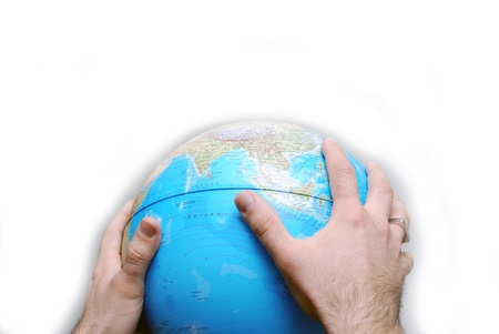 Teamwok concept with hands on globe Stock Photo - 11419585