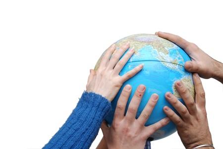 manos unidas: Teamwok concepto con las manos en globo (NIKON D80; 20.3.2007, 1  250 en f  5, ISO 400, balance de blancos: Auto, longitud focal: 29 mm)