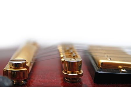 red abstract backgrounds: guitar music instrument islated on white background Stock Photo