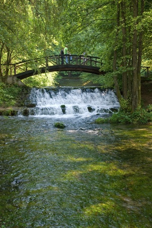 wooden bring over small waterfall photo