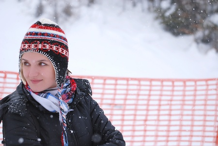 overwhite: girl portrait with snowing weather