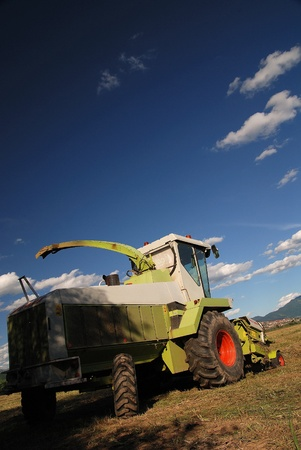 agronomics: tractor on farm  Stock Photo