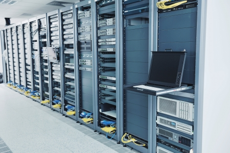 network server room with computers for digital tv ip communications and internet Stock Photo