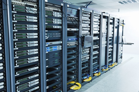 network server room with computers for digital tv ip communications and internet Stock Photo - 11399124