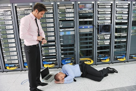 fail: it business man in network server room have problems and looking for  disaster situation  solution