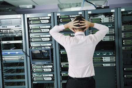 control room: system fail situation in network server room