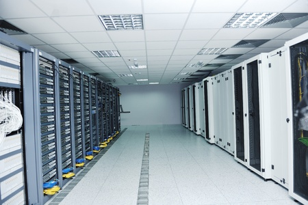 network server room with computers for digital tv ip communications and internet Stock Photo - 11872937