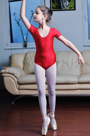 ballet girl exercise and learn at home photo