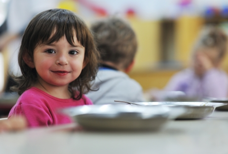 happy child kids group have fun and play at kindergarden indoor preschool education concept with  teacher Stock Photo - 11963148