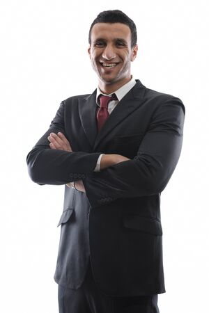 Portrait of happy smiling young arab business man isolated on white background photo