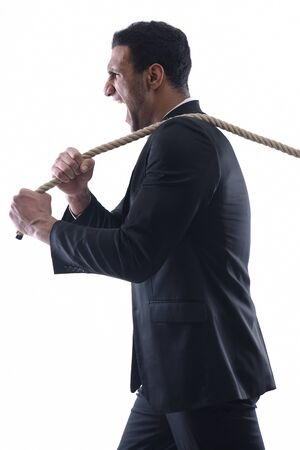 Business man with rope isolated on white background Stock Photo - 12303849