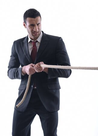 Business man with rope isolated on white background photo