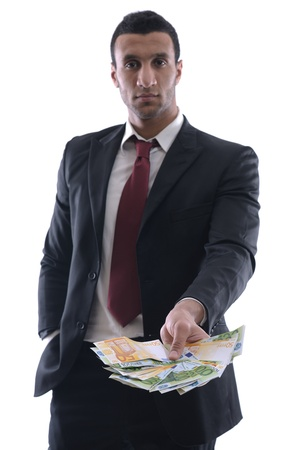 Business man holding money Stock Photo - 12303858