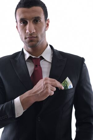 Business man holding money Stock Photo - 12303878