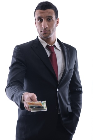 Business man holding money Stock Photo - 12303797