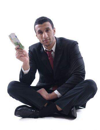 Business man holding money Stock Photo - 12303816