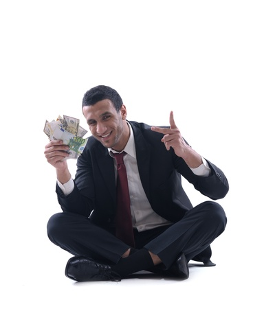 Business man holding money Stock Photo - 12303790