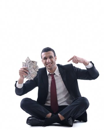 Business man holding money Stock Photo - 12303829