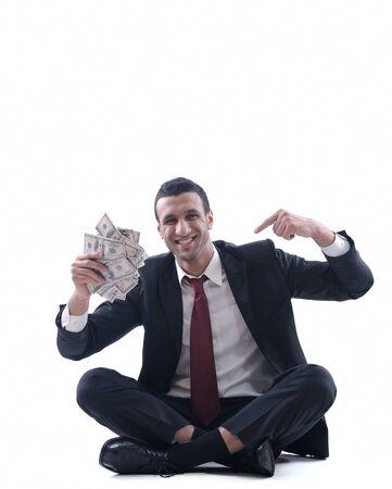 Business man holding money Stock Photo - 12303829