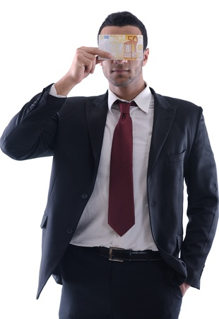 Business man holding money photo