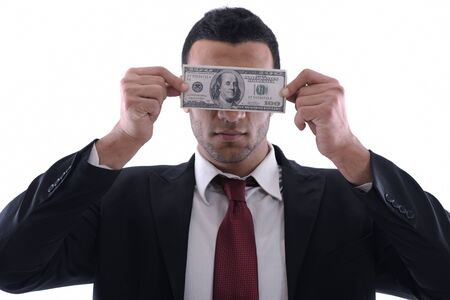 Business man holding money Stock Photo - 12303903