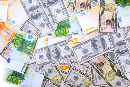 us currency: Business money background with us dollars and european euro