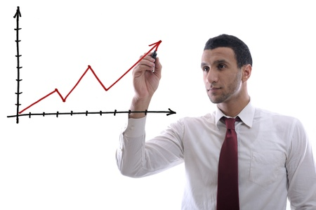 rotulador: hombre de negocios de éxito empate gráfico de líneas aisladas sobre fondo blanco en estudio