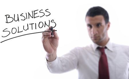 business man draw business solutions and plan b concept  with marker on glass  isolated on white background  in studio photo