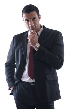 Portrait of happy smiling young arab business man isolated on white background Stock Photo - 12565478