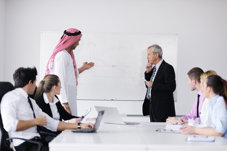 arab: Business meeting - Handsome young Arabic  man presenting his ideas to colleagues and listening for ideas for success investments at bright modern office room