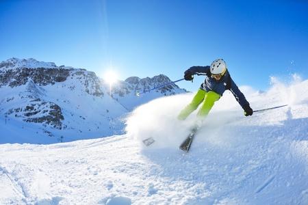 narciarz: Zachód słońca w dziedzinie Letnich  Zdjęcie Seryjne