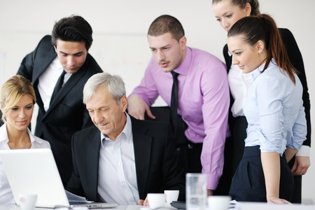 group business: business people  team  at a meeting in a light and modern office environment.