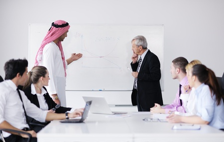 arabic man: Business meeting - Handsome young Arabic  man presenting his ideas to colleagues and listening for ideas for success investments at bright modern office room