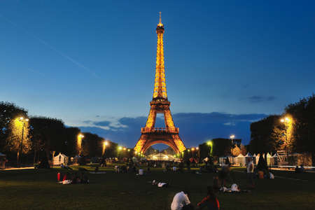 eiffet tower in paris at night tourist and travel icon and attraction