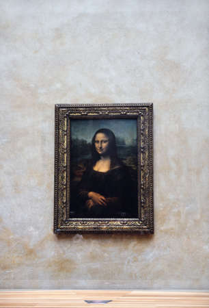 mona lisa art portrait of leonardo da vinci in paris at louvre museum
