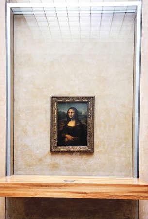 louvre pyramid: mona lisa art portrait of leonardo da vinci in paris at louvre museum Editorial