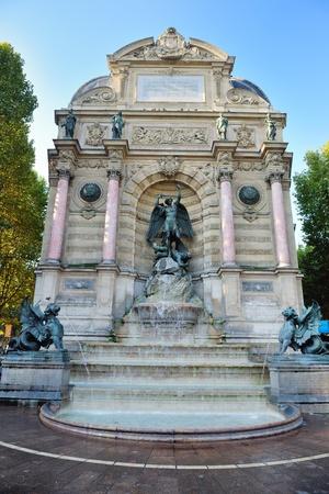 michel: beautiful Saint Michel fountain in Paris