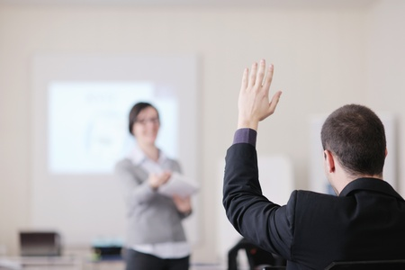 business training: business people group have education leasson on seminar training event at small bright office conference room Stock Photo
