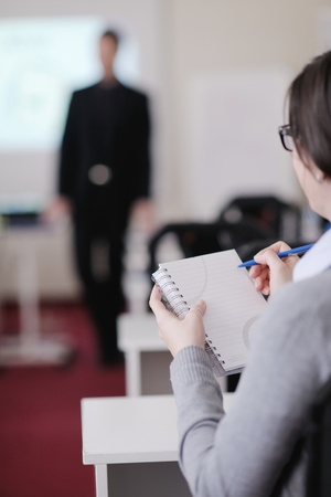 business people group have education leasson on seminar training event at small bright office conference room Stock Photo - 12766906
