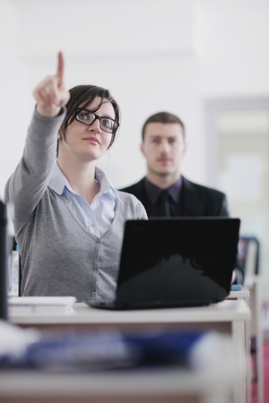 business people group have education leasson on seminar training event at small bright office conference room Stock Photo - 12766986