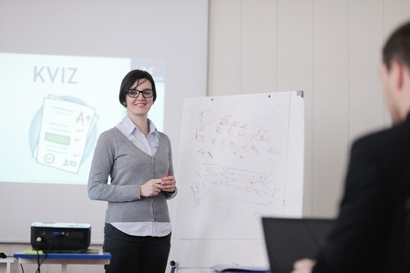 business people group have education leasson on seminar training event at small bright office conference room Stock Photo - 12767038
